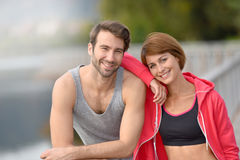 Athletic couple realxing after running Stock Photography