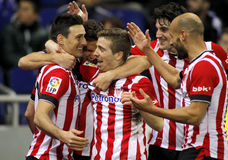 Athletic de Bilbao players celebrating goal Royalty Free Stock Photography
