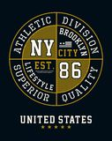 Athletic Division NYC Brooklyn T-shirt Graphic. Athletic Division NYC Brooklyn Typography Design, Tshirt Graphic, Vector Image Royalty Free Stock Image