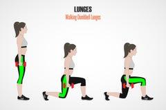 athletic exercises Ασκήσεις με το ελεύθερο βάρος Κλασικά Lunges Απεικόνιση ενός ενεργού τρόπου ζωής Στοκ εικόνες με δικαίωμα ελεύθερης χρήσης