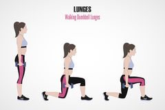 athletic exercises Ασκήσεις με το ελεύθερο βάρος Περπατώντας Lunges αλτήρων Απεικόνιση ενός ενεργού τρόπου ζωής Άσκηση για όμορφο Στοκ εικόνες με δικαίωμα ελεύθερης χρήσης