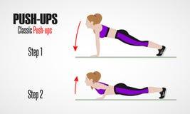 athletic exercises Ασκήσεις με το ελεύθερο βάρος Pushups Απεικόνιση ενός ενεργού τρόπου ζωής Στοκ Εικόνες