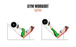 athletic exercises Ασκήσεις σε μια γυμναστική Τύπος ποδιών Γυναίκα που κάνει την άσκηση στη μηχανή Τύπου ποδιών στην απεικόνιση γ ελεύθερη απεικόνιση δικαιώματος