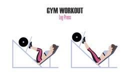 athletic exercises Ασκήσεις σε μια γυμναστική Τύπος ποδιών Γυναίκα που κάνει την άσκηση στη μηχανή Τύπου ποδιών στην απεικόνιση γ Στοκ Εικόνες