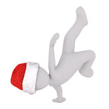 Athletic figure in Santa hat doing handstand Stock Images