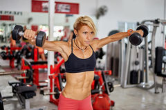 Athletic fit woman training shoulders at the gym Royalty Free Stock Images