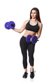 Athletic fitness woman helthy sport isolated white background black clothes with dumbbells Royalty Free Stock Image
