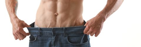 Athletic folded man slimming theme. Is very strong press and fitness Stock Images