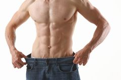 Athletic folded man slimming theme is very strong press and fitness. Press Royalty Free Stock Images