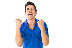 Athletic football player cheering Stock Photography