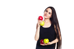 Athletic girl with apples. Portrait of beautiful caucasian sport Young woman, Space for text Royalty Free Stock Image