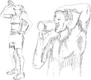Athletic girl and boy drinking water after exercis Royalty Free Stock Images