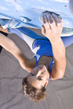 Athletic girl climbing stock photography