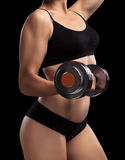 Athletic girl with dumbbells in hand. Royalty Free Stock Photo