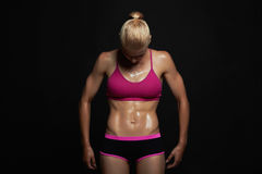 Athletic girl. gym concept. muscular fitness woman, trained female body.healthy lifestyle Royalty Free Stock Photos