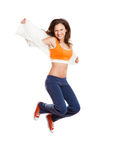 Athletic girl jumping Royalty Free Stock Photography