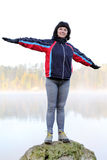 Athletic girl. By the lake Royalty Free Stock Photo