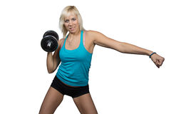 Athletic girl making exercises with dumbbell Royalty Free Stock Photo