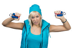 Athletic girl making exercises with expanders Royalty Free Stock Images