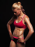 Athletic girl.muscular fitness woman.healthy lifestyle.bodybuilding. Athletic girl.muscular fitness woman, trained female body.healthy lifestyle.bodybuilding Royalty Free Stock Images
