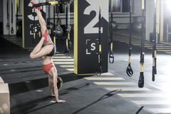 Athletic girl stands upside down in gym. Incredible girl stands on the hands upside down on the floor in the gym. Her left foot is on the TRX strap, right leg royalty free stock images