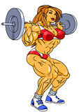 Athletic girl trains with heavy barbell. Illustration,color,drawing,isolated on a white Royalty Free Stock Photos