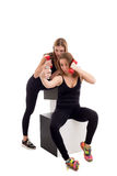 Athletic girlfriends makes selfie with dumbbells Royalty Free Stock Photography