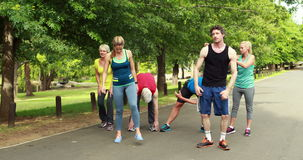 Athletic group stretching and running. In park stock video