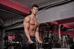 Athletic guy in the gym Stock Image