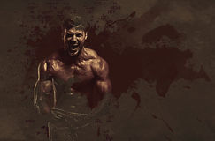 Athletic handsome man. Digital art. Athletic handsome man showing biceps muscles. Digital art Vector Illustration