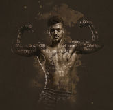 Athletic handsome man. Showing biceps muscles. Digitally generated image. Conceptual photo Stock Photo