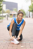 Athletic happiness woman before exercising and training, healthy Stock Image