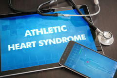Athletic heart syndrome (heart disorder) diagnosis medical concept on tablet screen with stethoscope.  royalty free stock photos