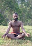Athletic Indian man meditating in lotus yoga pose in forest. Healthy life exercise concept - athletic Indian man meditating in lotus yoga pose in forest Royalty Free Stock Photos