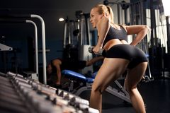 Athletic lady doing workout with weights Stock Images