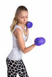 Athletic lady with dumbbell. Sporty girl with color  dumbbell on white background Royalty Free Stock Photo