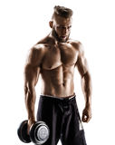 Athletic male with dumbbell isolated on white background Stock Image