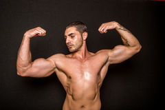 Athletic male showing biceps Stock Photography