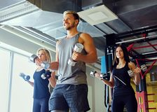 Athletic male and two slim female fitness models doing shoulder exercises with dumbbells. Handsome blond, athletic male and two slim female fitness models doing Stock Photos