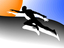 Athletic man. Vector figure of the running athlete on a color background royalty free illustration