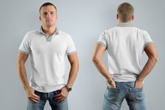 Athletic man in the blank polo shirt. Mockup for your graphic  d. Athletic man in the blank polo shirt and blue jeans  isolated on the gray background, front and Stock Photos