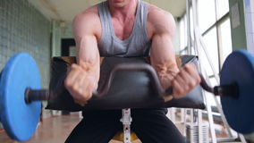 Athletic man doing biceps curls with EZ barbell stock video footage