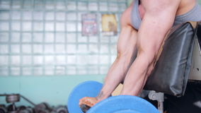 Athletic man doing biceps curls with EZ barbell stock video