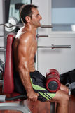 Athletic man doing triceps workout Stock Images