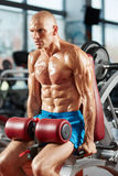 Athletic man doing triceps workout Royalty Free Stock Images