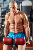 Athletic man doing triceps workout Royalty Free Stock Photo