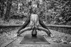 Athletic man doing yoga asanas in the park. On the hill. black and white, hdr stock photo