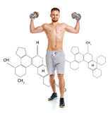 Athletic man with dumbbells with the chemical formula on backgro Stock Images