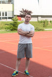 Athletic Man After Fitness Exercise Outdoor Stock Photography
