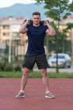 Athletic Man After Fitness Exercise Outdoor Royalty Free Stock Photography